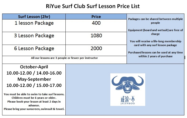 Surf Lesson Price List Photo