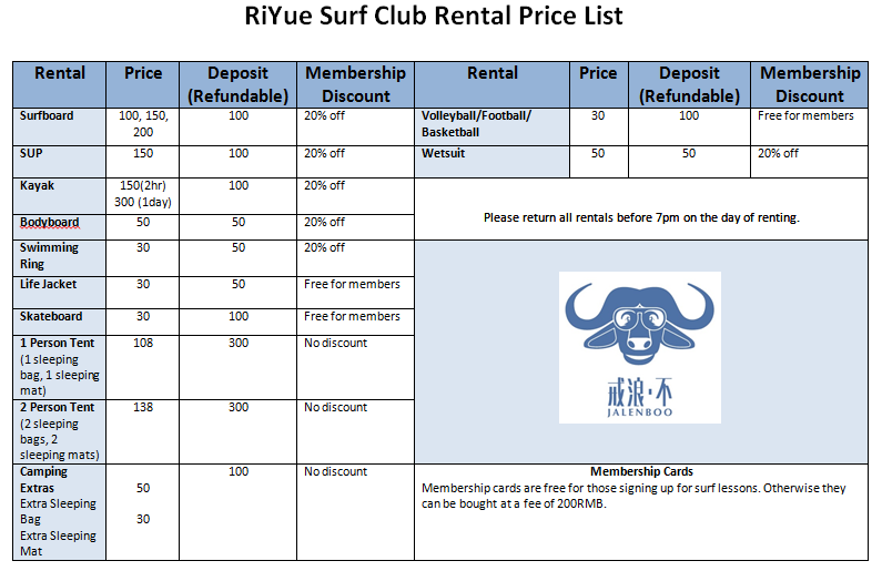 Rental Price List Photo